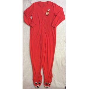 Nick & Nora Fox Footed Pajamas Women Sz S Red Eyes